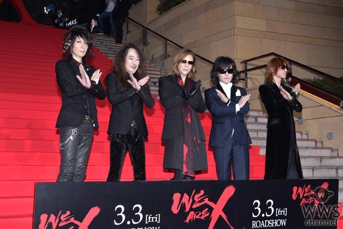 X JAPANが六本木ヒルズを紅に染めた!映画『WE ARE X』ジャパンプレミア・レッドカーペットでXポーズ炸裂!