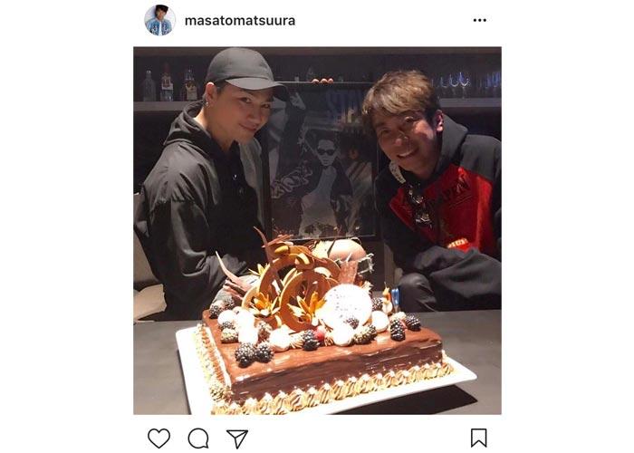 エイベックス松浦社長が三代目JSB・登坂広臣と2ショットで豪華すぎるケーキと共にバースデー祝う!