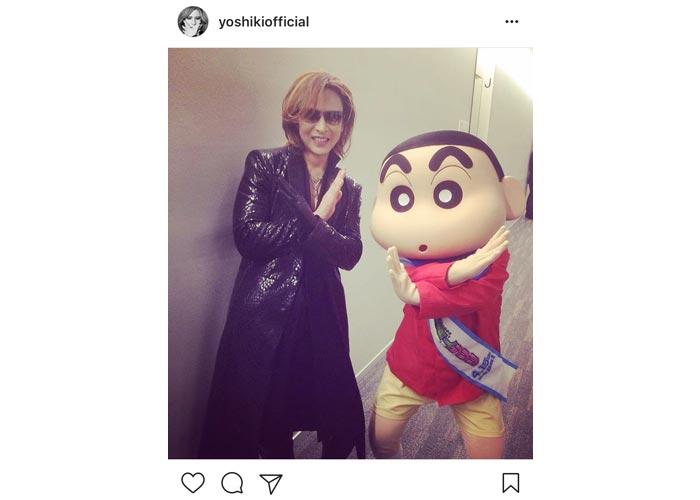 X JAPAN YOSHIKIがクレヨンしんちゃんと可愛いすぎる2ショットでXポーズ!