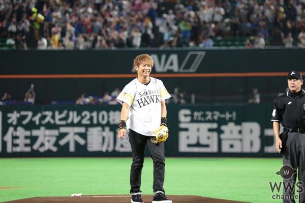 EXILE 黒木啓司が初の始球式で力強い投球を披露!「マウンドに立てて感無量です」