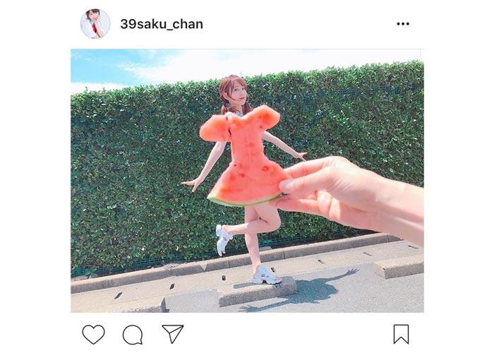 この夏の流行ファッション確定!?宮脇咲良が可愛すぎるスイカドレス姿を披露!