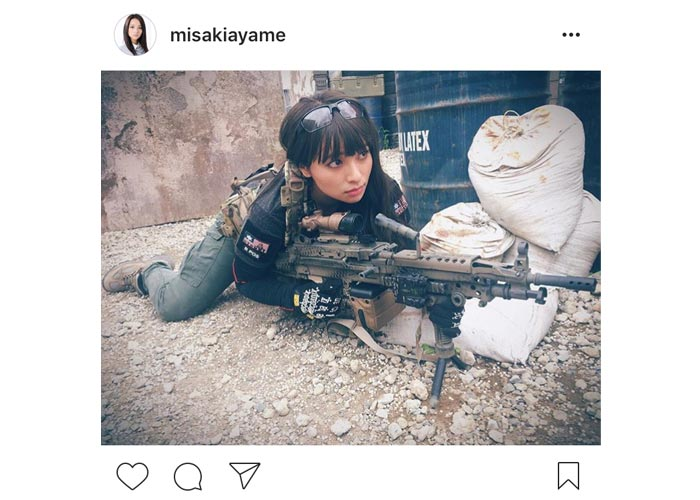 水崎綾女の可愛すぎるサバゲ女子姿を披露!「かわいすぎて撃てません」