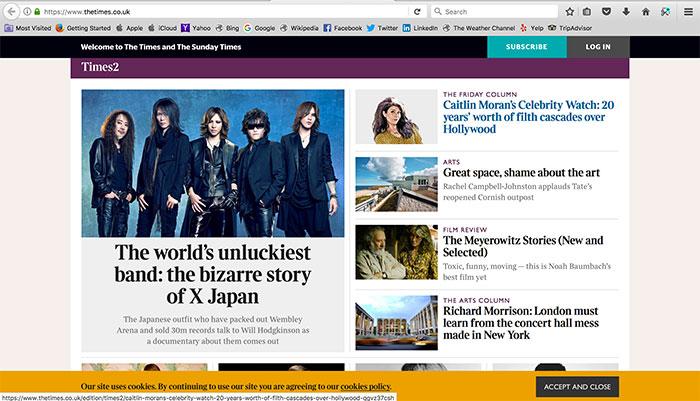 『ロンドン・タイムズ』表紙にX JAPANが登場 日本のバンドとして創刊以来初の快挙!