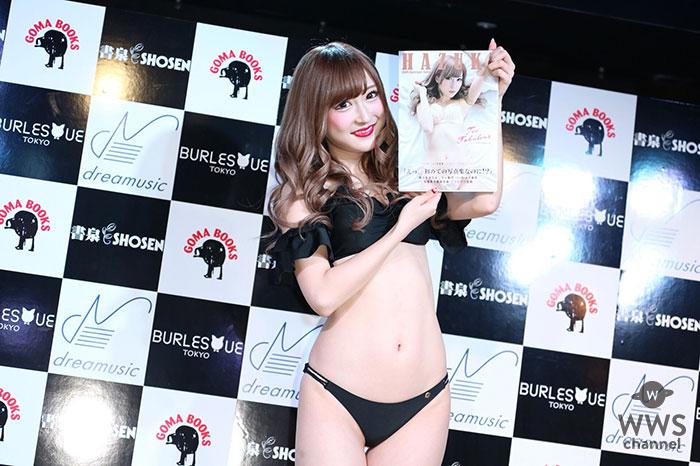 美肌が眩しいバーレスク東京のHAZUKIがセクシーすぎる黒の水着姿で登場!「写真集は点数つけるなら100点」
