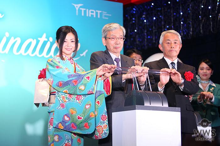 倉木麻衣が和のテイストの着物姿で羽田空港点灯式に登場!