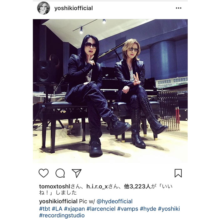 X JAPAN YOSHIKIとhydeがカッコ良すぎる神がかった2ショットを公開!