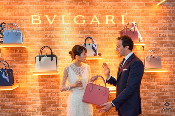 """桐谷美玲が、 初披露となる""""サクラ""""をテーマにしたブルガリ日本限定バッグと、 新作のジュエリーを身にまとい華やかに登場!"""
