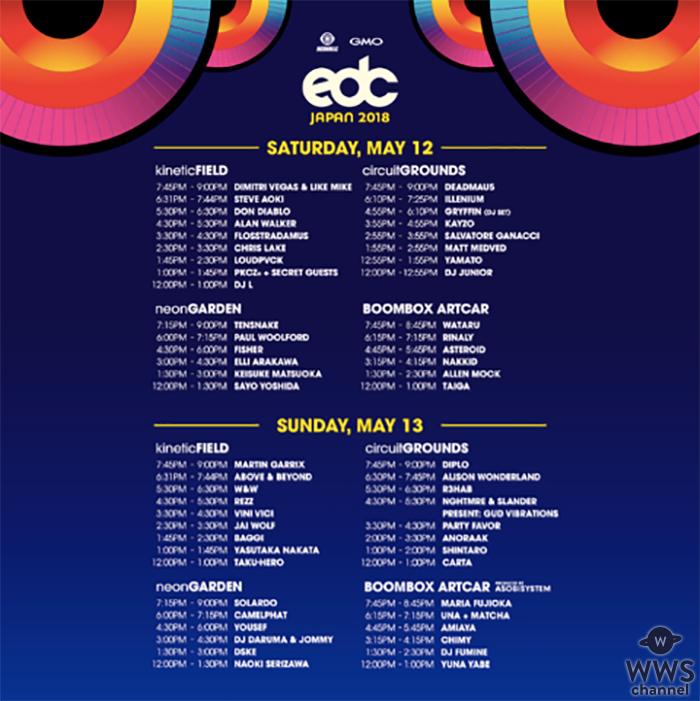 世界最大級のエレクトリック・ダンスミュージック・フェスティバル [ Electric Daisy Carnival ] 「EDC Japan 2018」タイムテーブルがついに発表!! 2018年5月12日(土)、13日(日) 場所: ZOZO マリンスタジアム&幕張海浜公園EDC特設会場