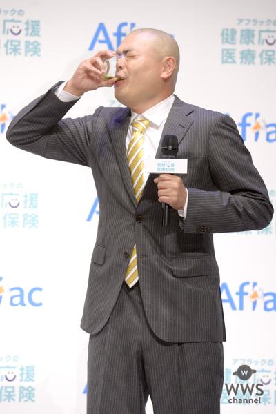田中圭、橋本環奈の「あーん」にタジタジ!?CM衣装でアフラック新保険プラン発表会に登場