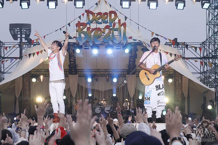 ポルノグラフィティ、故郷・広島での凱旋野外ライブ「しまなみロマンスポルノ'18~Deep Breath~」の初日公演のサービス映像をWOWOWで特別編集して放送!