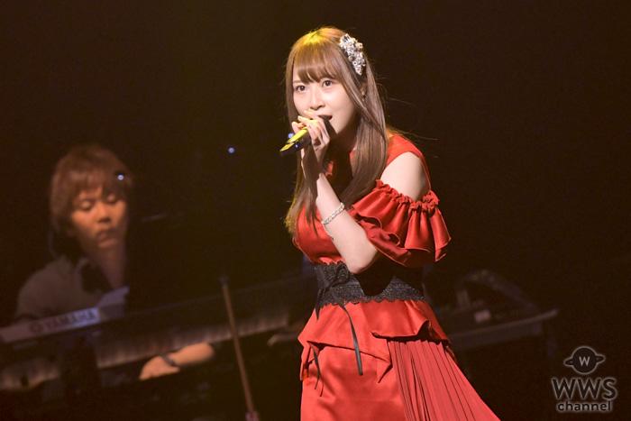 SKE48・高柳明音、赤いドレス衣装で『悲しみがとまらない』を熱唱!<AKB48グループ歌唱力No.1決定戦>