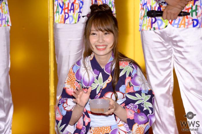 SKE48・高柳明音が浴衣姿で初めての金魚すくいにチャレンジ!『2019 大江戸温泉金魚物語』お披露目セレモニーに登場!
