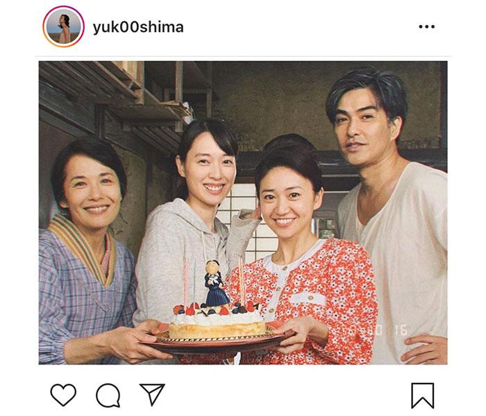 大島優子、『スカーレット』の現場で戸田恵梨香から誕生日を祝福!「お祝い待ってました」「素敵なケーキですね」とファンの声も