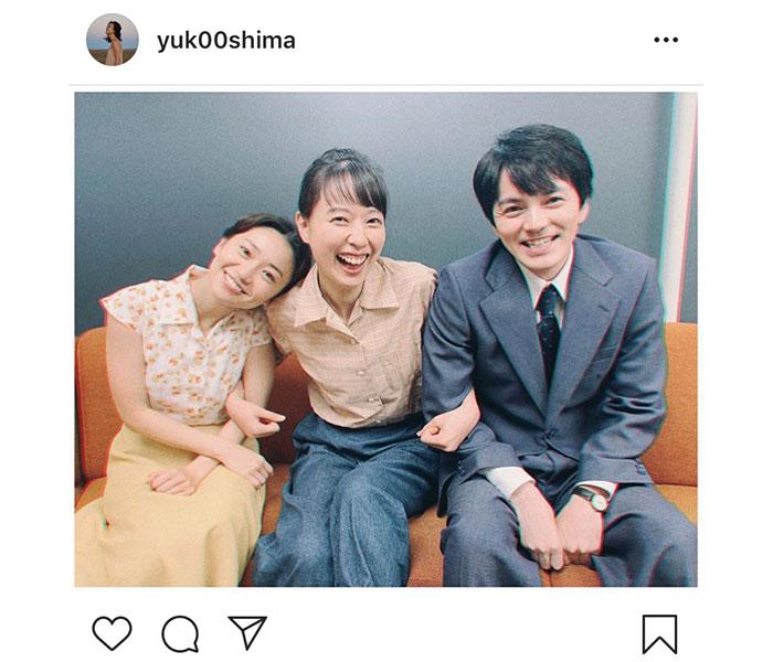 大島優子が戸田恵梨香、林遣都と朝ドラ『スカーレット』集合カット公開!「3人の登場楽しみにしてますー!」