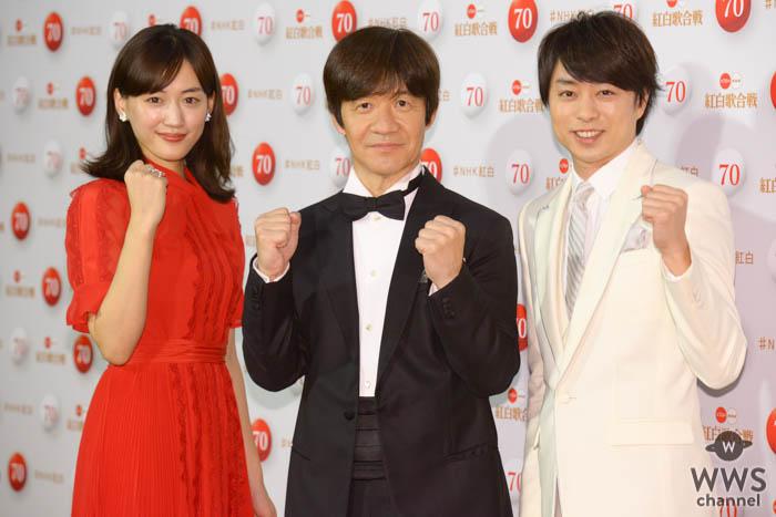 櫻井翔、綾瀬はるか、内村光良が『第70回NHK紅白歌合戦』取材会に登場