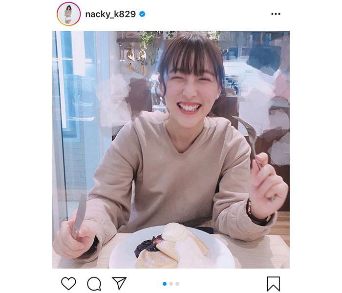 SKE48 鎌田菜月、パンケーキを前に癒しの笑顔「自分磨き、歯磨きは大切ね」