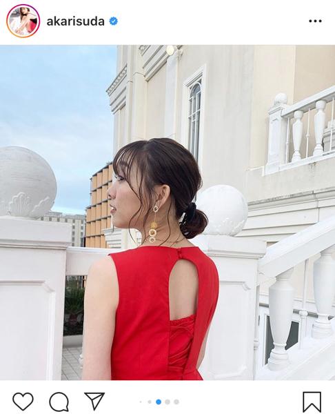 SKE48 須田亜香里、海外撮影(?)な赤ドレスコーデに「綺麗ですよ」「ステキすぎる」と絶賛の声