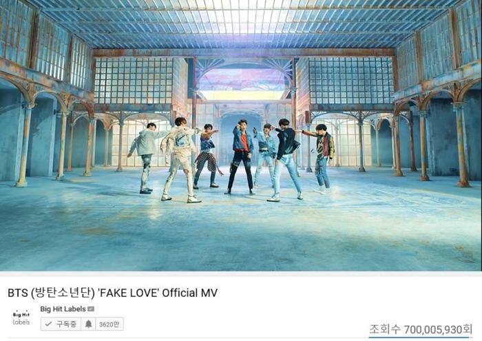 BTS(防弾少年団)、「FAKE LOVE」ミュージックビデオ7億再生突破!