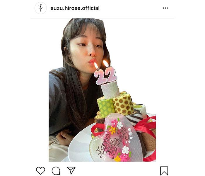 広瀬すず、22歳のバースデーケーキを公開!比嘉愛未、山田裕貴からもメッセージ