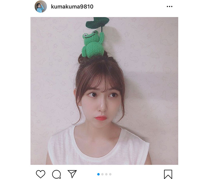SKE48 熊崎晴香、くまちゃん流『梅雨との付き合い方』が可愛い!「かえるくん、そこ代わって!」