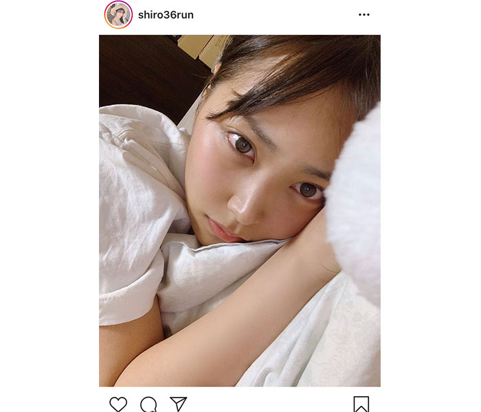 "NMB48 白間美瑠、すっぴん""添い寝""風ショットに「見つめられたら寝れない」"