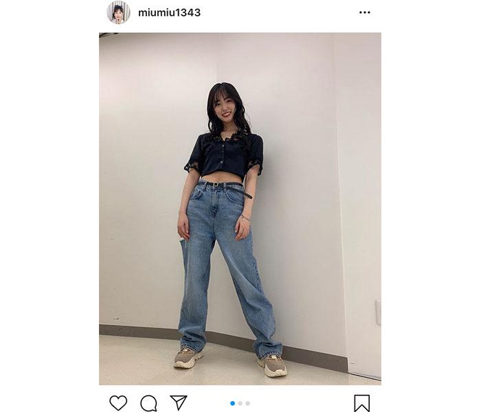 AKB48 下尾みう、ヘソ出し全身コーデを披露!「おなか出しカワイイ」「すごいオシャレ」と反響