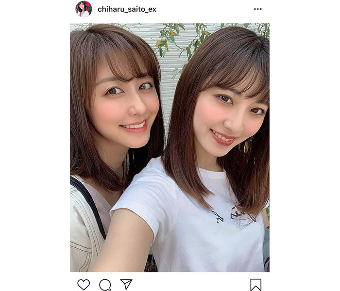 斎藤ちはるアナ、ミスコングランプリの妹まりなと美人姉妹ショットを公開!「そっくりですね」「清潔感あれてる」