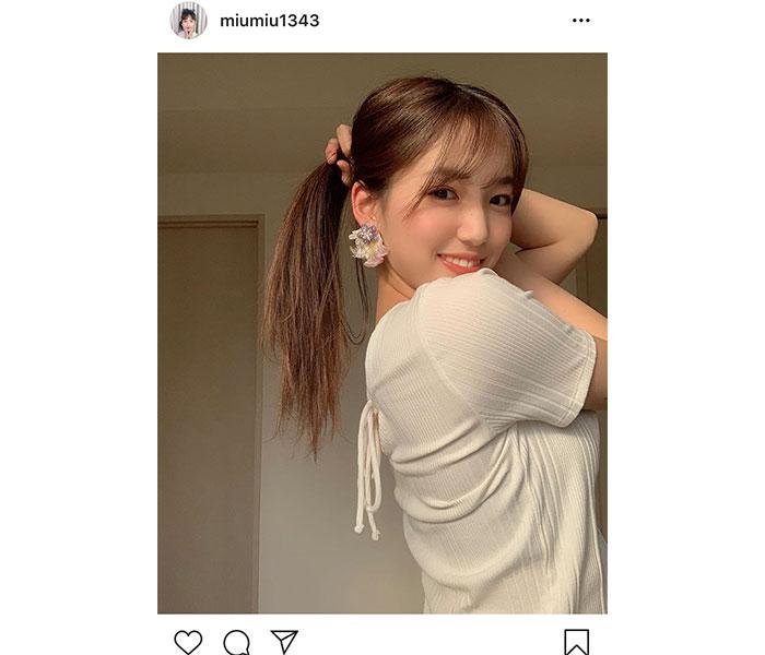 AKB48 下尾みう、片手で結んだ自然体なポニーテールに「久しぶりの投稿でめちゃかわいい」と反響