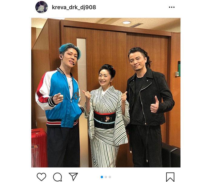 KREVAが石川さゆり、MIYAVIと『音楽の日』3ショット公開!出演後に分かった意外な共通点は?