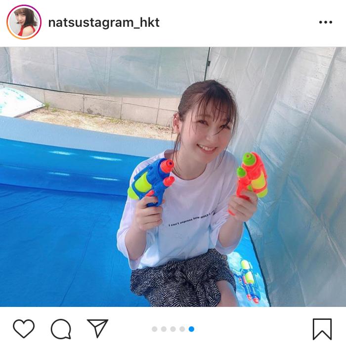 HKT48 松岡菜摘がプールでずぶ濡れに!「水も滴るいい女」