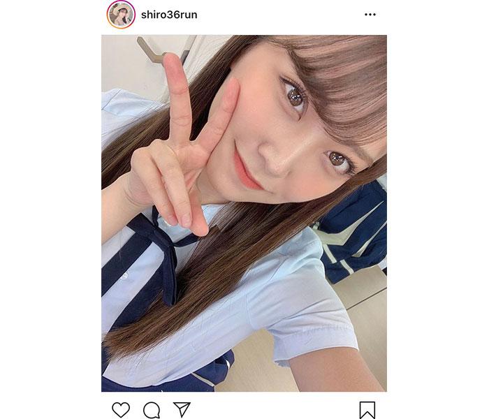 NMB48 白間美瑠、紐リボンが可憐な制服ショット披露!「みるるんの制服は女神!」