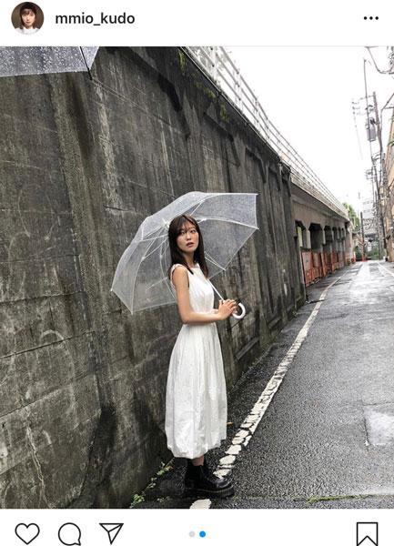 工藤美桜、ノースリーブ の白ワンピ姿に「爽やかな感じ」「 ぽけっと顔も可愛い〜」と反響