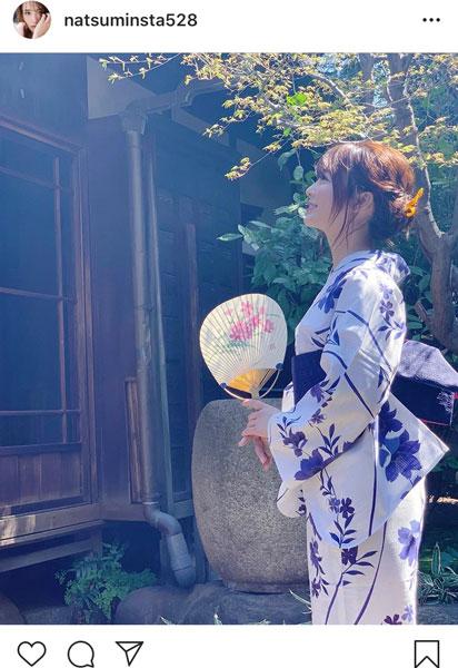 平嶋夏海、浴衣で過ごす納涼ショット「浴衣美人ですね」「惚れちゃいます」