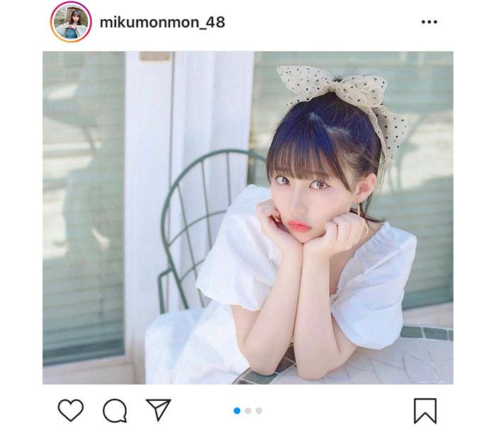 """HKT48 田中美久、大きめリボンのポニーテールが""""あざと可愛い""""!「透明感!」「ポニテにリボンは最強!」"""