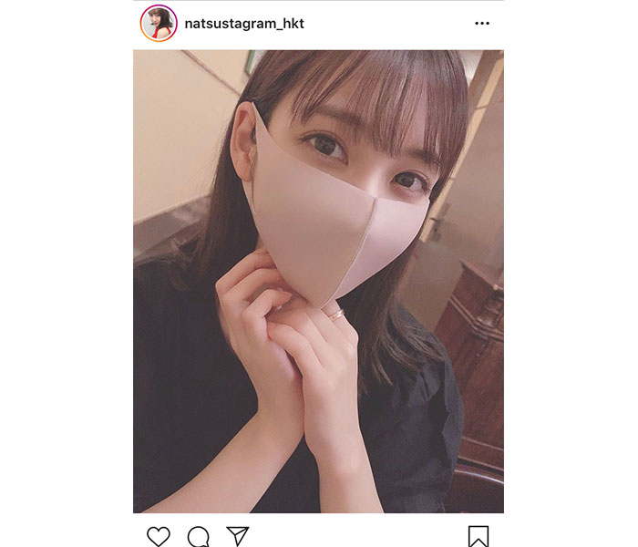 HKT48 松岡菜摘、マスク越しから伝わる美顔ショット公開!「可愛さの限界突破」