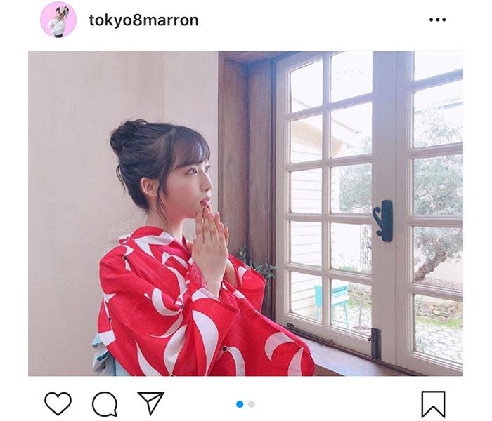AKB48 小栗有以、鮮明な浴衣姿に「めっちゃ綺麗」「超絶美しいです」と絶賛の声