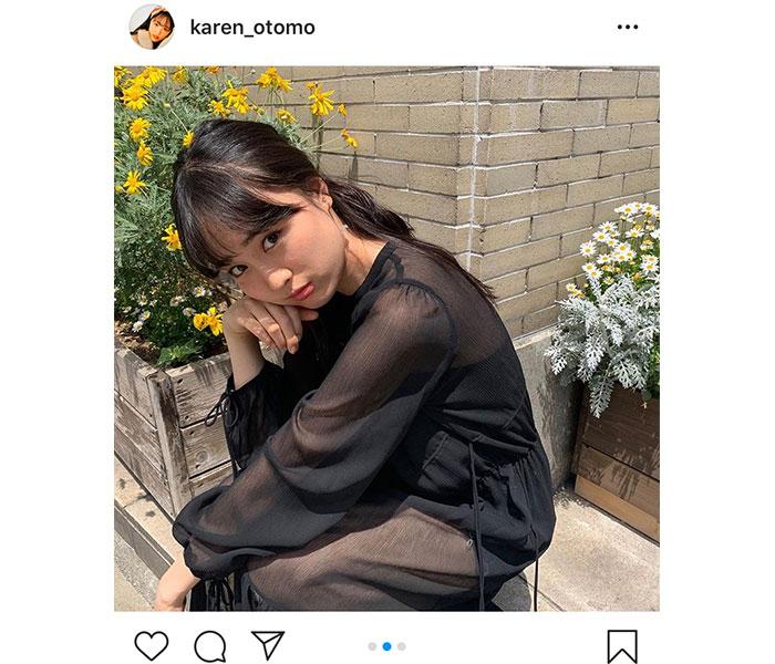 大友花恋、「よく見たら、透けている」シースルーの黒ワンピースコーデを公開