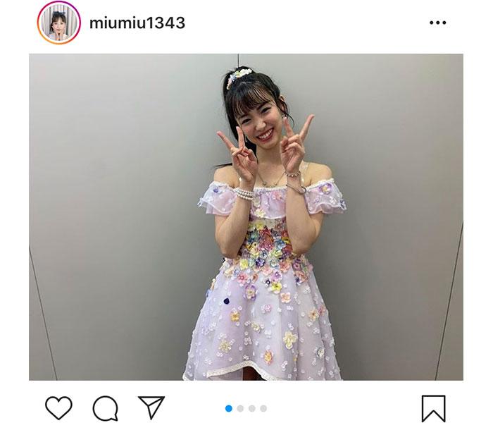 AKB48 下尾みう、肩出しのステージ衣装で夏のステージを満喫!「似合っているね!」「衣装着てるとより良い」