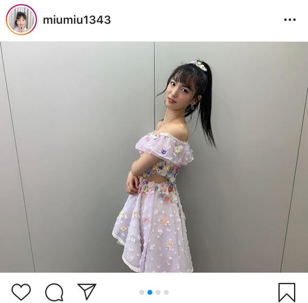 AKB48 下尾みう、肩出しのステージ衣装で夏を満喫!「似合っているね!」「衣装着てるとより良い」