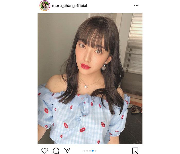 HKT48 田島芽瑠のオフショル爽やか私服ショットに「大人っぽくて可愛い」と絶賛の声