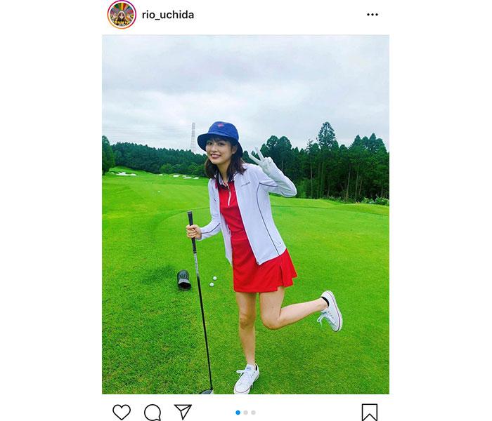 内田理央、グリーンに映える赤ウェアで生脚も披露!「僕の心にホールインワン」