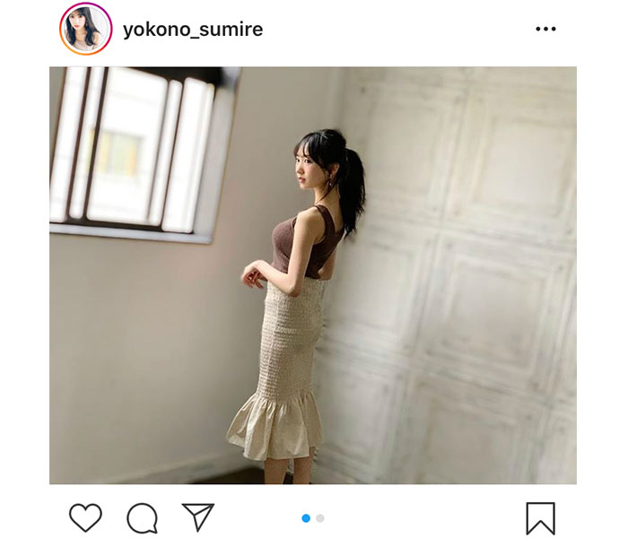 NMB48 横野すみれ、ポニーテールを揺らすタンクトップ姿のバックショットに絶賛の声「素晴らしい」「超絶可愛すぎる」