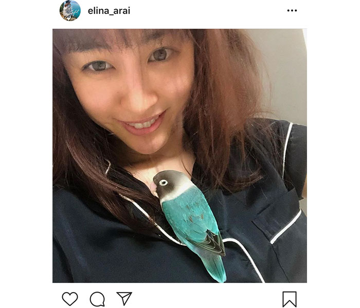 新井恵理那、すっぴんで愛鳥とのプライベートショットを公開!