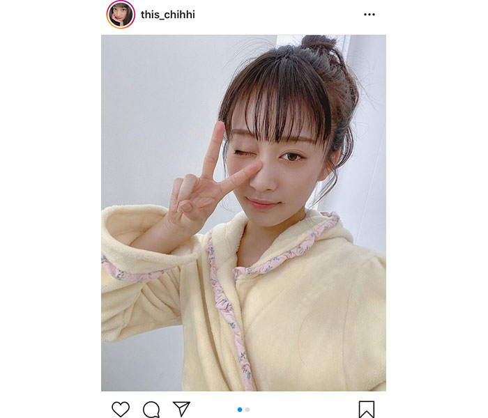 NMB48 川上千尋、気になるガウン姿でソログラビア掲載を告知!「すごく早く見て欲しい気持ち」