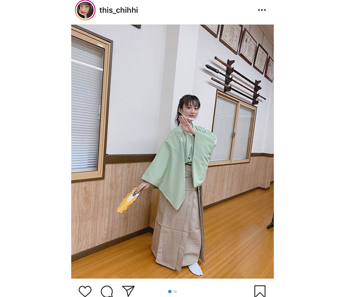 NMB48 川上千尋、詩舞に挑戦した袴姿を披露「おしとやかで美しい!!」
