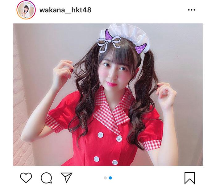"""HKT48 村上和叶、""""最強ツインテール""""な生写真のウェイトレスオフショット公開!「ビックリするほど似合ってる」"""