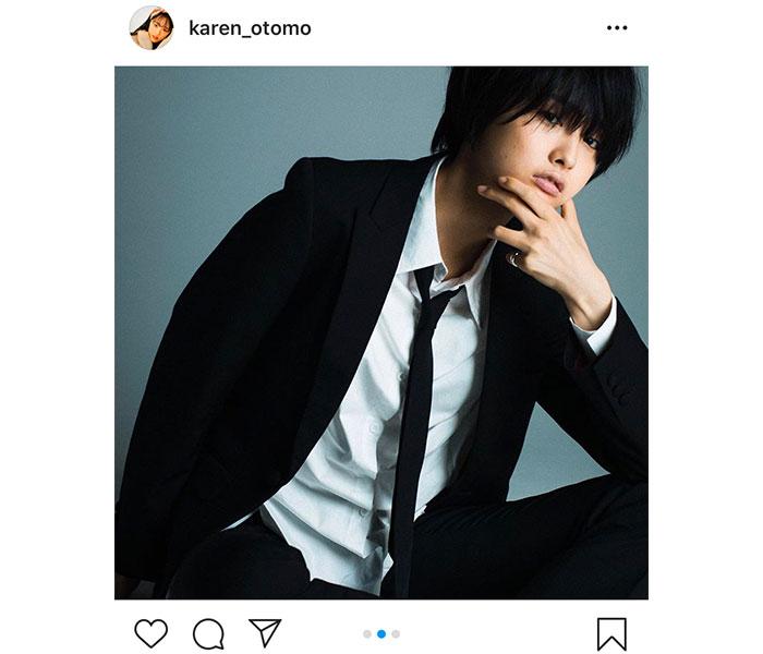 大友花恋、イケメンすぎる男装ポートレートにファン歓喜「彼氏になってください!」