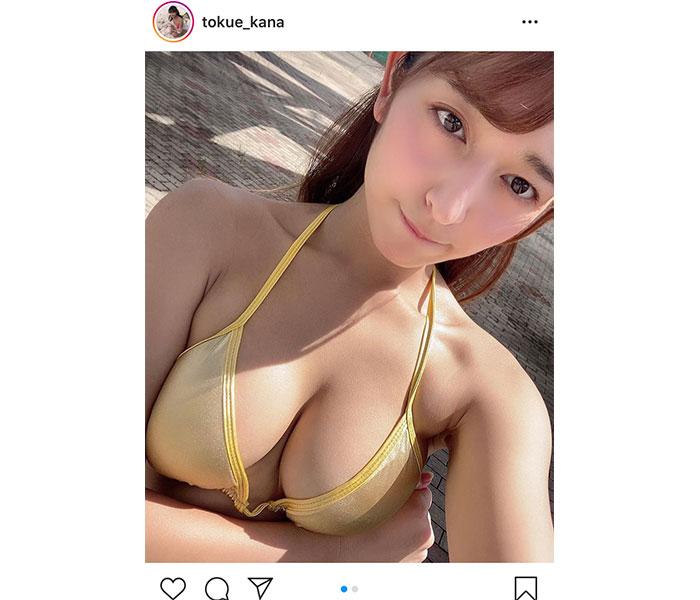 徳江かな、日に焼けた肌とチラ見せくびれがセクシーなグラビアショット公開!