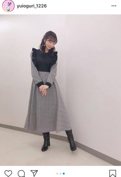 AKB48 小栗有以、大人びた雰囲気のワンピースコーデに反響「脚が長い」「秋らしい装い」