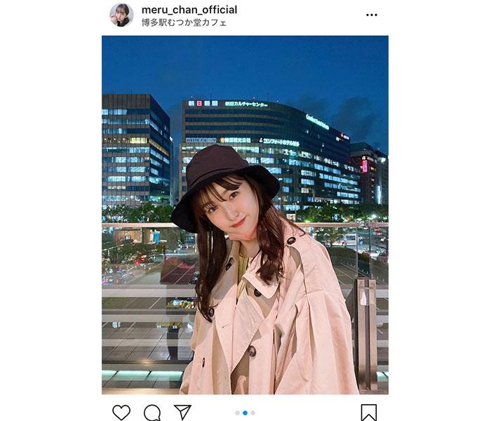 HKT48 田島芽瑠、博多の夜景に映える私服コーデ披露!